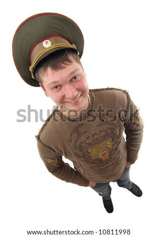 wide angled and isolated shot  of man in russian military hat