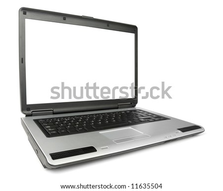 Wide angled laptop isolated with clipping path over white background - stock photo