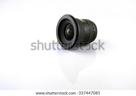 Wide camera lens on white background. - stock photo