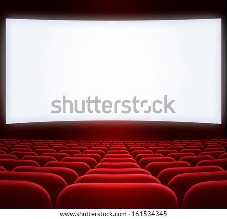 wide cinema screen - stock photo