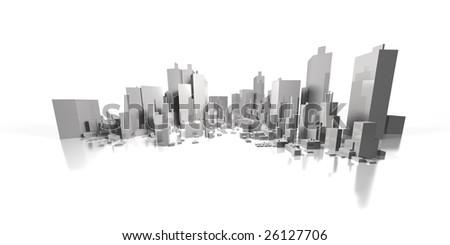 wide cityscape - stock photo