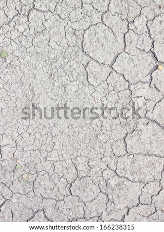 Wide cracks in the dried up ground. - stock photo