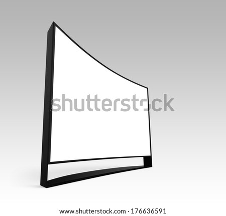 Wide curved ultra definition television with blank copy space. Clipping path available. - stock photo