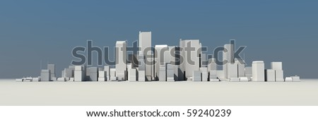 wide 3D cityscape model at daytime with a blue sky in the background - buildings are casting shadows - stock photo