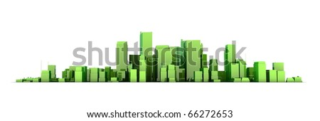 wide 3D cityscape model in shiny green/yellowish  with a white background - buildings are casting no shadows - stock photo