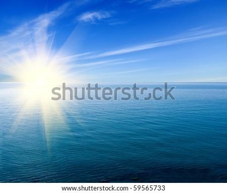 wide emerald sea - stock photo