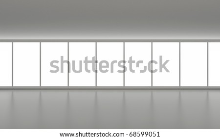 Wide empty hall, clean interior, with big windows, clipping path for them included - stock photo