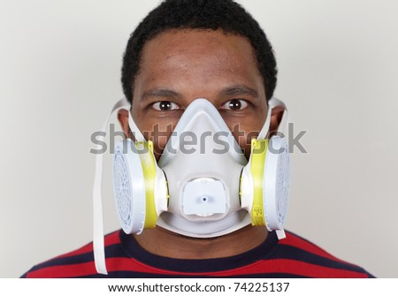 Wide Eyes with Ventilation Mask - stock photo