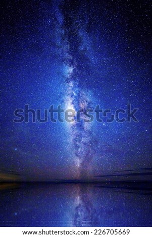 Wide field long exposure photo of the Milky Way. - stock photo