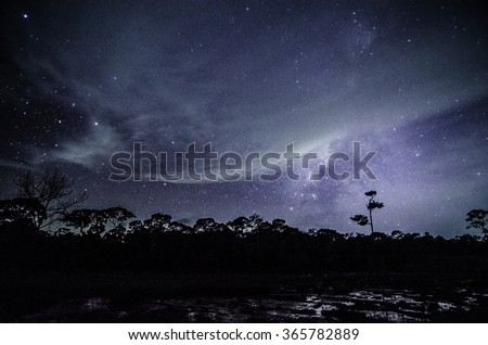 Wide field long exposure photo of the Milky Way - stock photo