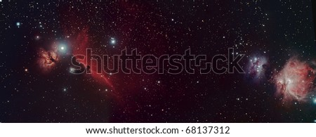 Wide field view of the Horse Head, Flame and Orion Nebula
