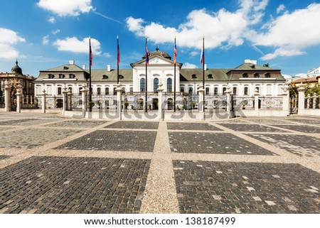 Wide front view of Grassalkovich Palace (Grasalkovicov Palac) in Bratislava, Slovakia, residence of the President of Slovakia - stock photo