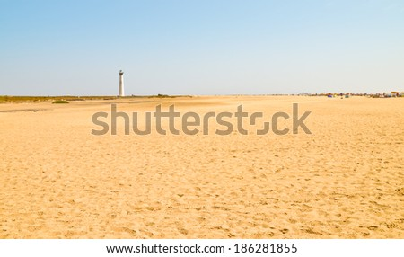 Wide Fuerteventura beaches. Matorral playa in Morro Jable. - stock photo