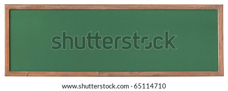 Wide green  blackboard isolated on white background - stock photo