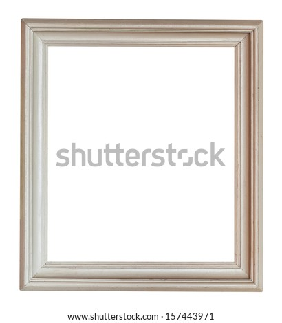 wide grey painted vertical wooden picture frame isolated on white background - stock photo