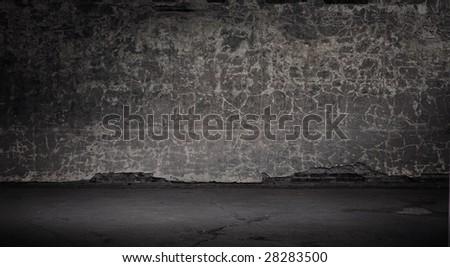Wide grunge vintage background, gray version - stock photo
