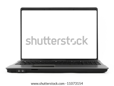 wide hollow notebook against white background, natural shadow in front, focus set on the screen - stock photo