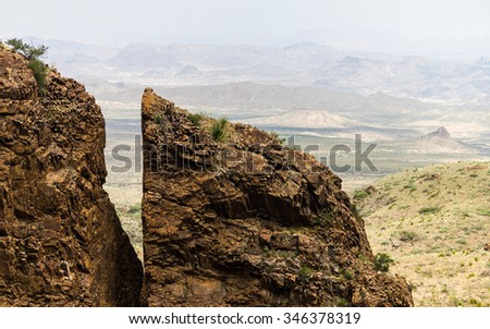 Wide landscape of Big Bend National Park in Texas - stock photo