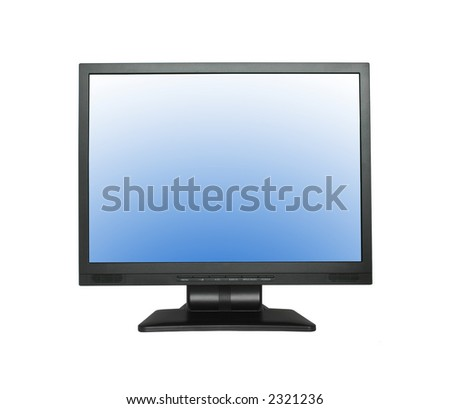 wide LCD screen isolated on pure white background - stock photo