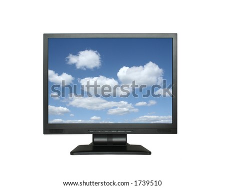 wide lcd with gorgeous sky - stock photo
