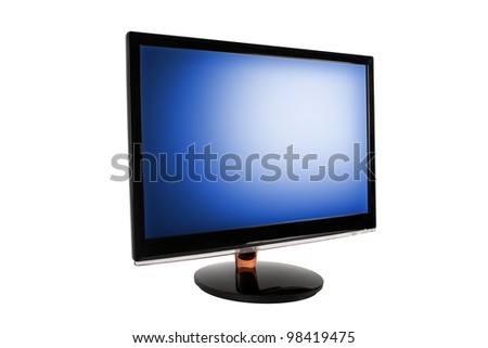 Wide LED computer monitor with the blue screen. Isolated on white background.