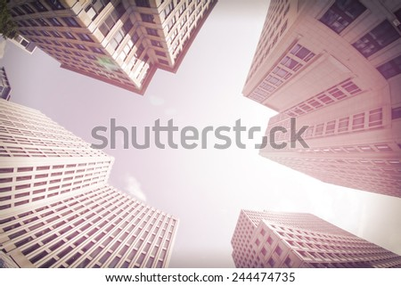Wide Lens View of Modern Buildings. Business Concept - stock photo