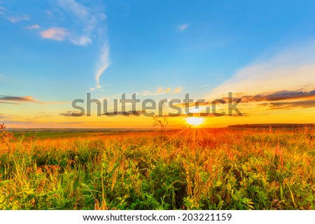 Wide meadow beneath evening sky and sunset - stock photo