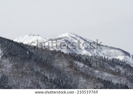 Wide mountain view in Japanese Alps with snow-covered peaks and evergreen trees - stock photo