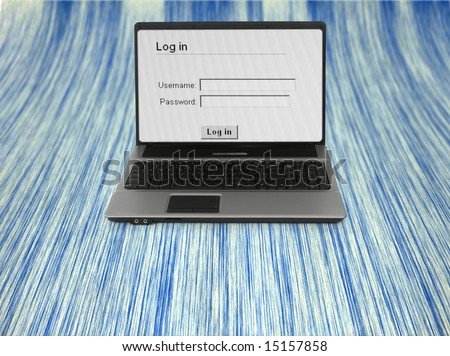 wide notebook with log in screen, content inside LCD is my property - stock photo