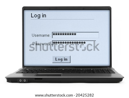 wide notebook with log in screen on white, gentle natural shadow in front - stock photo