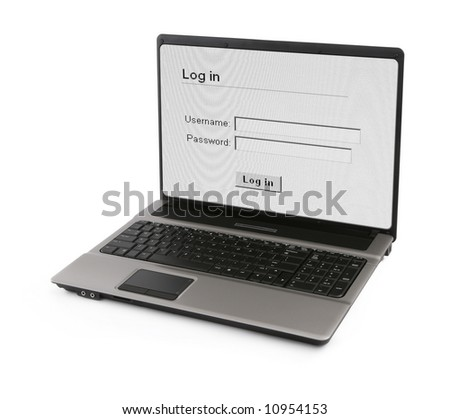 wide notebook with log in screen on white, gentle natural shadow in front, photo inside is my property - stock photo