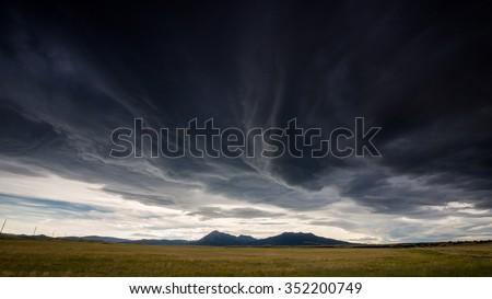 Wide open range in Alamosa County, Colorado - stock photo