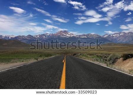 Wide Open Rural Road in the Eastern Sierras
