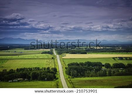 Wide open spaces of rural Alberta, Canada. - stock photo