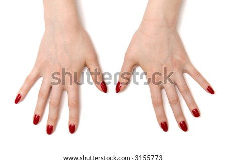 Wide open woman hands. On white with shadows. - stock photo