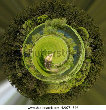 wide panorama, Beautiful summer rural landscape with small lagoon. Green czech countryside. Beautiful highland vysocina european countryside. Beautiful Little planet ecology concept. Tiny green planet - stock photo