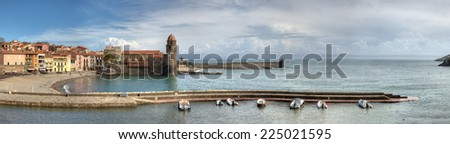 Wide Panorama of Collioure in France - stock photo