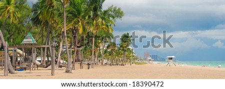 Wide panoramic view of Fort Lauderdale Beach, Florida - stock photo