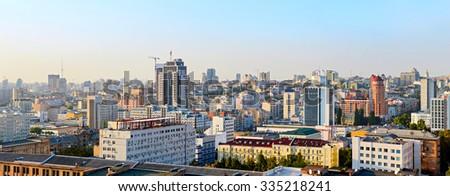 Wide panoramic view of Kiev at sunset. Ukraine   - stock photo