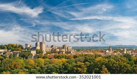 Wide panoramic view of old town and Papal palace in Avignon, France - stock photo