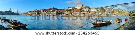Wide panoramic view of Port at sunset, Portugal - stock photo