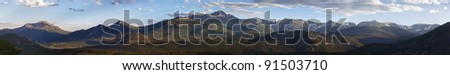 wide panoramic view of the Rocky Mountains National Park in summer - stock photo