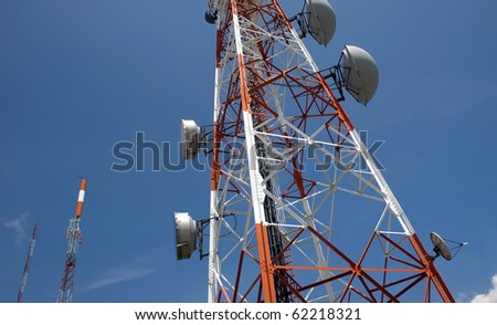 Wide perspective of a multiple broadcast station. - stock photo