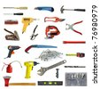 wide range of tools on white - stock photo