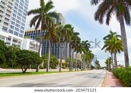 Wide road with tall palms and modern buildings in Miami Beach, Florida. Buildings and trees on a sunny spring day. - stock photo