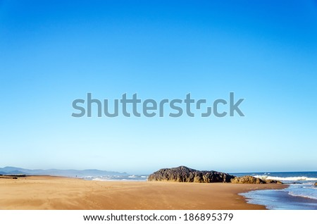 Wide sandy beach on the Oregon coast at Lincoln City - stock photo