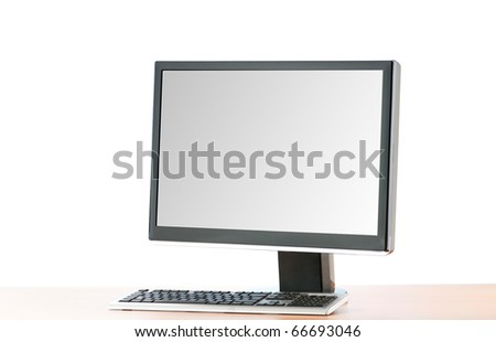 Wide screen computer isolated on the white