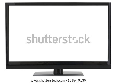 Wide Screen HD LCD TV with separate clipping paths for the background and the screen - stock photo