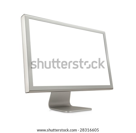 Wide Screen LCD (liquid-crystal display) computer monitor with blank (white) screen. Isolated on white background. - stock photo