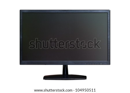 wide screen LED monitor isolated with clipping path - stock photo